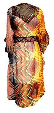 Orange Light Weight Geometric Tribal Print Long Sleeve Fabric Belt Summer Tunic Mini Dress Zigzag