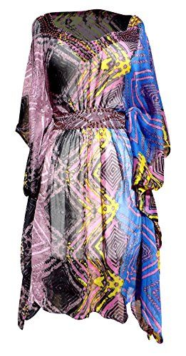 Pink Light Weight Geometric Tribal Print Long Sleeve Fabric Belt Summer Tunic Mini Dress Zigzag