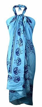 Blue Light Weight Multi Purpose Hawaiian Scarves Pareo Beach Wraps