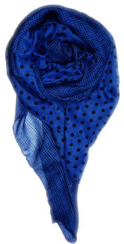 Blue-Black Lightweight Charming Polka Dot Border Polka Dot Pashmina and Scarf/Wrap