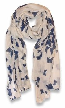Light weight Fabric Colorful Pretty Butterfly Print Fashion Scarf (Cream/Navy)