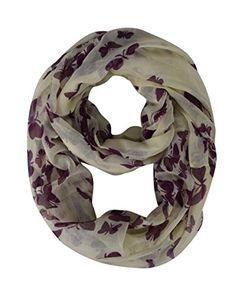 Cream Cranberry Fabric Colorful Pretty Butterfly Print Infinity Scarf Loop