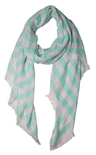 White Lightweight Sailor Nautical All Seasons Striped Scarf Wrap Shawl