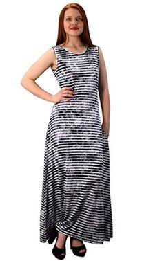 Lightweight Scoop Neck Striped Racerback Tie Dye Summer Maxi Dress
