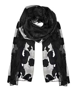 Lightweight Sheer Embroidered Paisley Burnout Summer Scarf