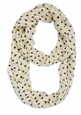 Cream Sheer Polka Dot Infinity Scarf Circle Loop