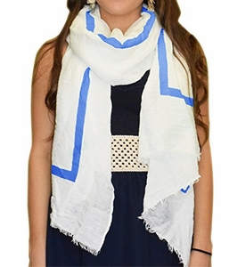 Blue Solid Stripe Classic White Linen Scarf Unisex