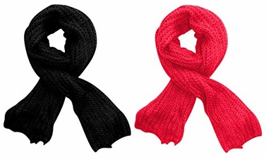 Black-Hot Pink Long Chunky and Warm Loose Knit Scarf 2 Pack