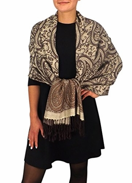 Peach Couture Long Scarf Womens Scarf Paisley Scarf Paisley Pashmina Vintage Scarf Vine Scarf Fringe Scarf Shawl Wrap Brown