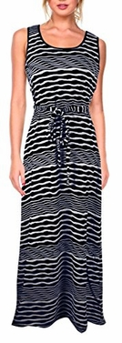 Nautical Black Long Striped Zig Zag Chevron Print Spring Summer Sleeveless Sundress (Large)