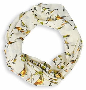 Cream Sheer Light Bird Floral Print Infinity Loop Scarf