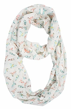 Lovely Multi Pattern Light Bird Floral Print Infinity Loop Scarf (Pastel Sheer)