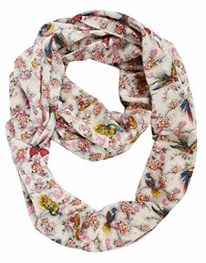 Pink Peacock Light Bird Floral Print Infinity Loop Scarf