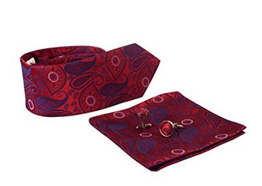 Men's Silk Feel Paisley Necktie Cufflinks Pocket Square Handkerchief Set