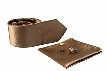 Tan Silk Feel Solid Necktie Cufflinks Pocket Square Handkerchief Set
