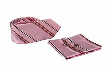 Pink Brown Men's Silk Feel Stripe Necktie Cufflinks Pocket Square Handkerchief Set