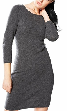 Grey Warm Cashmere Bodycon Sweater Dress (Large)