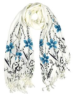Luxury Silk Feel Floral Vine Fringe Scarf Shawl Wrap