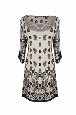 Peach Couture Mandala and Paisley Print Petite Tunic Dresses Cream Teal Floral X-Large