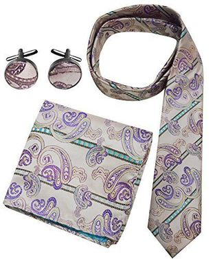 Paisley Boho Style Necktie Cufflinks Pocket Square Handkerchief Set