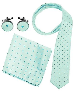 Polka Dot Necktie Cufflinks Pocket Square Handkerchief Set