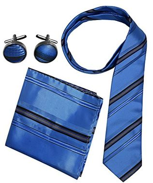 Stripe Necktie Cufflinks Pocket Square Handkerchief Set