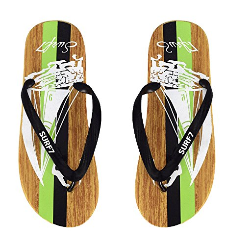 eaf8edf44 Green Mens Beach Flip Flops Textured Strappy Slip On Beach Sandals Black