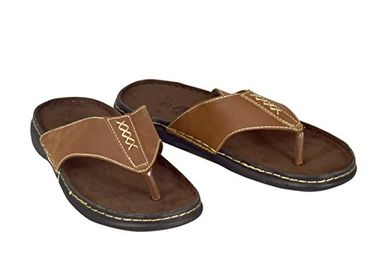 Tan Mens Classical Slippers Casual Leather Sandals Comfortable Shoes