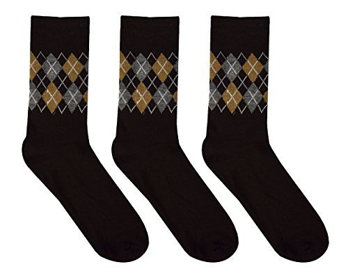 Mens Colorful Argyle 3 and 6 Pack Stretch Variety Socks Size 6-12  (One Size)