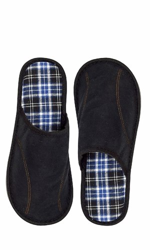 Black Men's Fleece Lined Relaxing Nordic Style House Slippers Plaid 2
