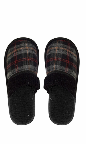 Black Men's Fleece Lined Relaxing Nordic Style House Slippers Plaid