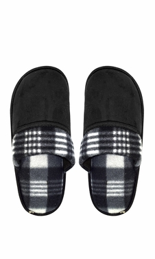 09947300a Black Men s Fleece Lined Relaxing Nordic Style House Slippers Plaid 3