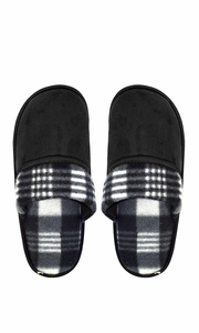 Black Men's Fleece Lined Relaxing Nordic Style House Slippers Plaid 3