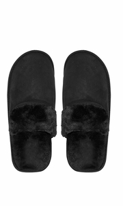 Black Men's Fleece Lined Relaxing Nordic Style House Slippers Solid