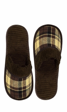 Brown Men's Fleece Lined Relaxing Nordic Style House Slippers Plaid