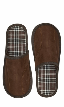 Brown Men's Fleece Lined Relaxing Nordic Style House Slippers Plaid 2