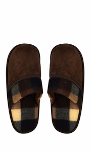 Brown Men's Fleece Lined Relaxing Nordic Style House Slippers Plaid 3