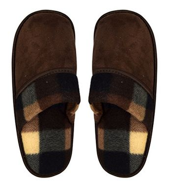 Grey Mens Fleece Lined Relaxing Nordic Style House Slippers Solid