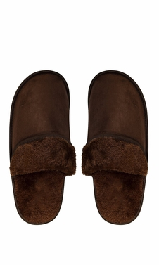 Peach Couture Mens Fleece Lined Relaxing Nordic Style House Slippers Brown Solid