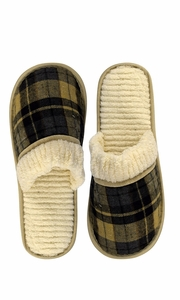 Cream Navy Men's Fleece Lined Relaxing Nordic Style House Slippers Plaid
