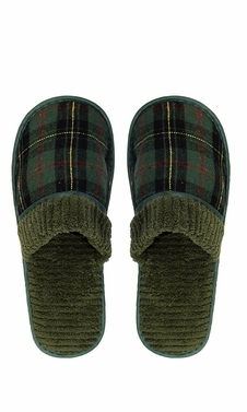 Green Men's Fleece Lined Relaxing Nordic Style House Slippers Plaid