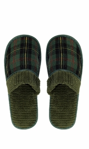 Peach Couture Mens Fleece Lined Relaxing Nordic Style House Slippers Green Plaid