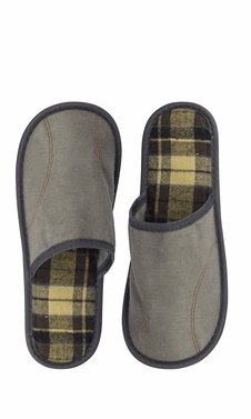 Grey Men's Fleece Lined Relaxing Nordic Style House Slippers Plaid 2