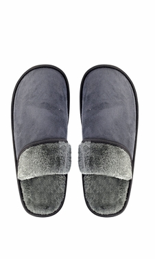 Grey Men's Fleece Lined Relaxing Nordic Style House Slippers Solid