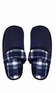 Navy Men's Fleece Lined Relaxing Nordic Style House Slippers Plaid 3