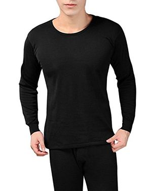 Black Men's Fleece Lined Soft Stretch Superior Warmth Thermal Underwear Pajamas 2 Piece Set