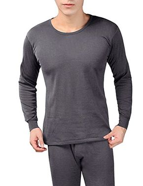 Dark Grey Men's Fleece Lined Soft Stretch Superior Warmth Thermal Underwear Pajamas 2 Piece Set