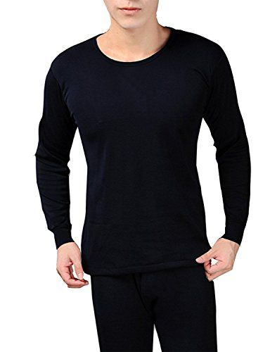 Navy Men's Fleece Lined Soft Stretch Superior Warmth Thermal Underwear Pajamas 2 Piece Set
