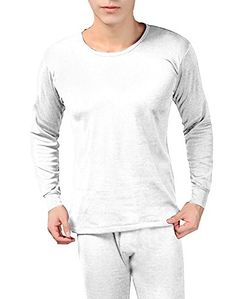 White Men's Fleece Lined Soft Stretch Superior Warmth Thermal Underwear Pajamas 2 Piece Set