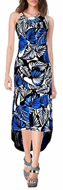 Blue Metal Halter Neck Tropical Maxi Dress